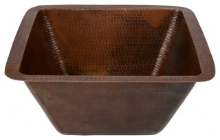 """Premier Copper 15"""" Square Hammered Copper Bar/Prep Sink With 3.5"""" Drain"""