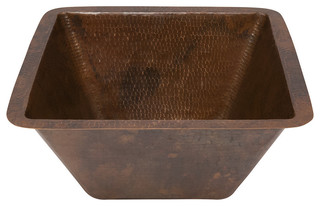"15"" Square Hammered Copper Bar/Prep Sink With 3.5"" Drain Size"