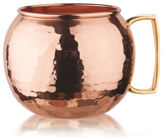 Hammered Solid Copper Globe Moscow Mule Mugs Set of 4