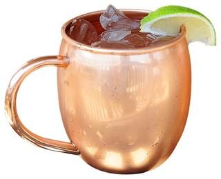 Authentic Barrel Shape Copper Mug With Nickel Lining 16oz