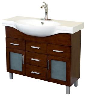 39.8 Inch Single Sink Vanity-Wood-Walnut-4 Drawers