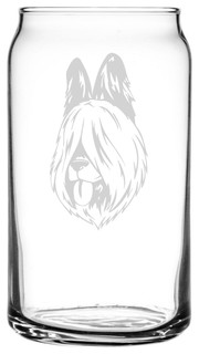 Briard Dog Themed Etched All Purpose 16oz. Libbey Can Glass