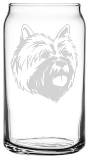 Cairn Terrier Dog Themed Etched All Purpose 16oz. Libbey Can Glass