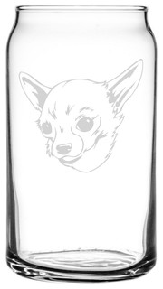 Chihuahua Dog Themed Etched All Purpose 16oz. Libbey Can Glass