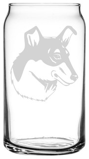 Smooth Collie Dog Themed Etched All Purpose 16oz. Libbey Can Glass