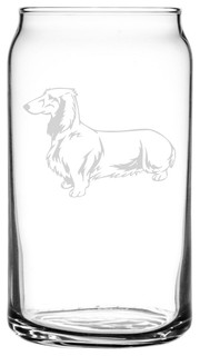 Dachshund Dog Themed Etched All Purpose 16oz. Libbey Can Glass