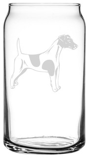Smooth Fox Terrier Dog Themed Etched All Purpose 16oz. Libbey Can Glass