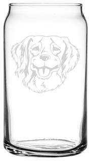 French Brittany Dog Themed Etched All Purpose 16oz. Libbey Can Glass