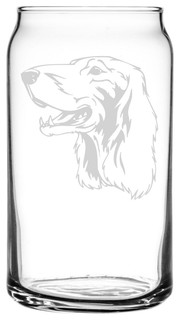 Irish Setter Dog Themed Etched All Purpose 16oz. Libbey Can Glass