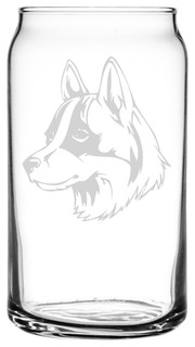 Icelandic Sheepdog Dog Themed Etched All Purpose 16oz. Libbey Can Glass