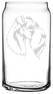 Kerry Blue Terrier Dog Themed Etched All Purpose 16oz. Libbey Can Glass