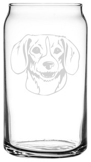 Kerry Beagle Dog Themed Etched All Purpose 16oz. Libbey Can Glass