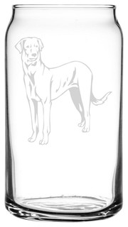 Rajapalayam Dog Themed Etched All Purpose 16oz. Libbey Can Glass