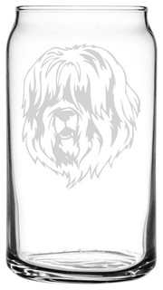 Schapendoes Dog Themed Etched All Purpose 16oz. Libbey Can Glass