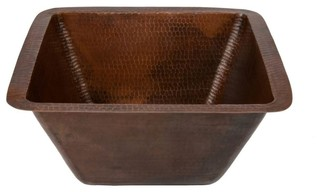 """15"""" Square Hammered Copper Bar/Prep Sink With 2"""" Drain Size"""