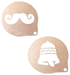 2-Piece Mustache and Bell Home Coffee Cake Powder Dusting Molds
