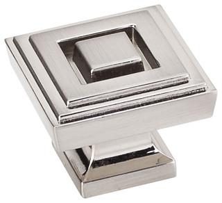 """Jeffrey Alexander Delmar Square Knob Satin Nickel 1-1/4"""""""