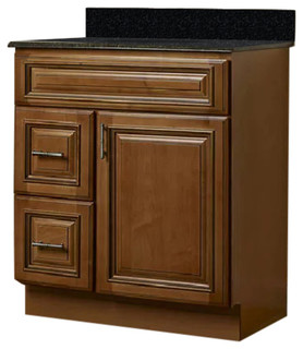 "JSI Kingston 30"" Maple Brown Bathroom Vanity Cabinet Base Left-Hand Drawers"