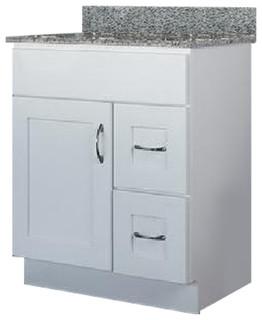 """JSI Dover 30""""W Bathroom Vanity Cabinet White Base #VD-V3021D Right Hand Drawers"""