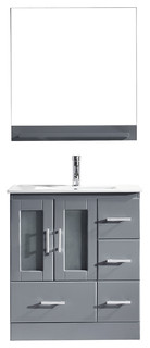 Virtu Zola Single Bathroom Vanity Brushed Nickel Faucet and Mirror Gray