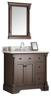 "Kingston 36"" Antique Coffee Bathroom Vanity and Mirror"