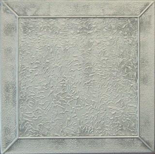 "19.6""x19.6"" Styrofoam Glue Up Ceiling Tiles R27 Antique Style Silver"