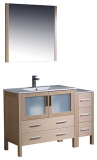 "Torino 48"" Light Oak Modern Bathroom Vanity Side Cabinet Integrated Sink"