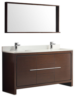 "Fresca Allier 60"" Wenge Brown Modern Double Sink Bathroom Vanity Mirror"