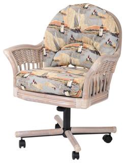Bridgeport Tilt Swivel Caster Chair In Rustic Driftwood With Seaworld Sand