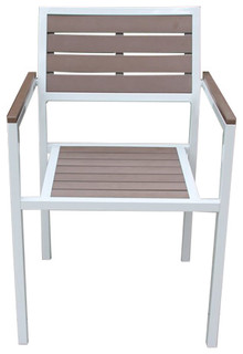 Single Winston Chair with White Aluminum Frame and Brown Faux Wood Accents