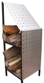 Funky Wood Compact Firewood Storage Racks Matte Brushed Aluminum 42""