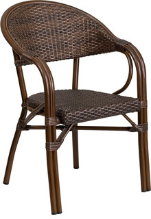 Milano Series Rattan Restaurant Patio Chair With Bamboo-Aluminum Frame Set of 3