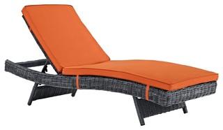 Modern Contemporary Urban Outdoor Patio Chaise Lounge Chair Orange Rattan