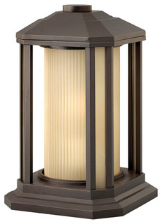 """Outdoor Post 1-Light With Bronze Ribbed Etched Amber Cylinder Cast 13"""""""
