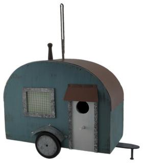 Blue Wood Retro Camper Trailer Birdhouse