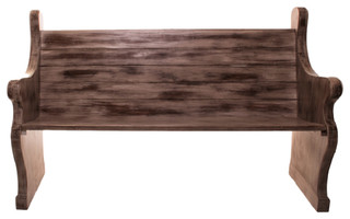 Solid Wood Indoor/Outdoor Pew Antique Finish With Slatted Back Waterfall Ends