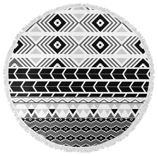 "BLACK AND WHITE TRIBAL Round Beach Towel By Terri Ellis 60""x60"""