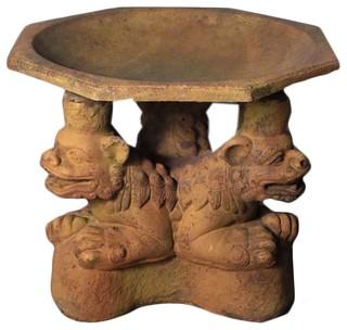 Three Foo Dogs Birdbath Garden Fountains & Birdbaths