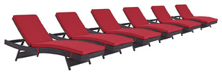 Modway Convene Chaise Outdoor Patio Set of 6 Espresso Red