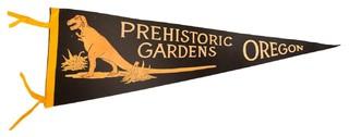 "Consigned Vintage Prehistoric Gardens Oregon Felt Flag Pennant 9""x27"""