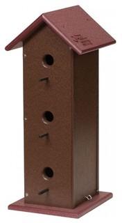 3 Room Birdhouse Bird Condo USA Handmade Cherry/Brown