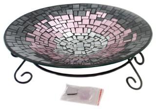 Home and Garden Pink Glitter Bird Bath Glass Water Drink Yard 65813