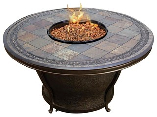Tempe 48 Inch Round Slate Top Gas Fire Pit Table