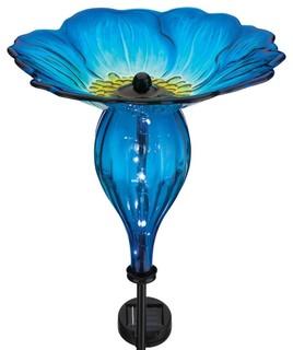 Regal Solar Bird Feeder Stake Blue Pansy