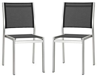 Shore Outdoor Patio Aluminum Side Chairs Set of 2 Silver Black