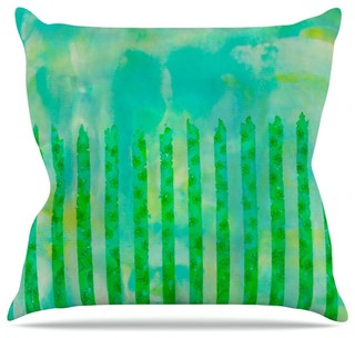 "Ebi Emporium ""Fancy This"" Green Teal Throw Pillow Outdoor 20""x20"""