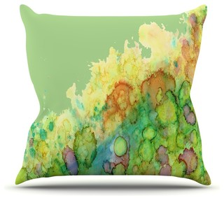 "Rosie Brown ""Sea Life"" Green Yellow Throw Pillow Outdoor 16""x16"""