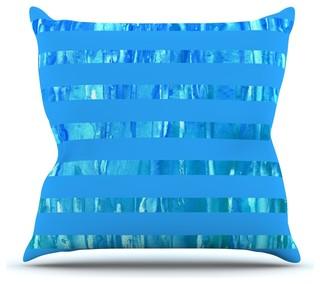 "Rosie Brown ""Wet Wild Stripes"" Aqua Blue Throw Pillow Outdoor 20""x20"""