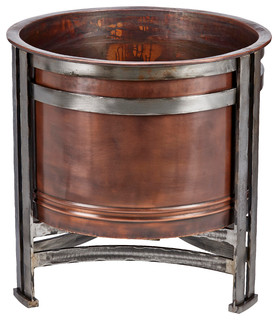 Handcrafted Chicago Outdoor Fire Pit- 100% Copper Bowl Iron Accents