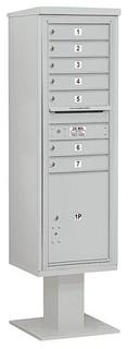 Durable Single Column 4C Pedestal Mailbox Gray